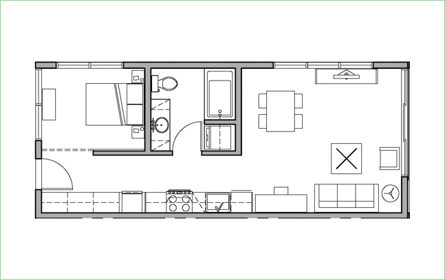 One Bedroom Floor Plans For Apartments | Open 1 Bed 1 Bath H2o Apartments Seattle